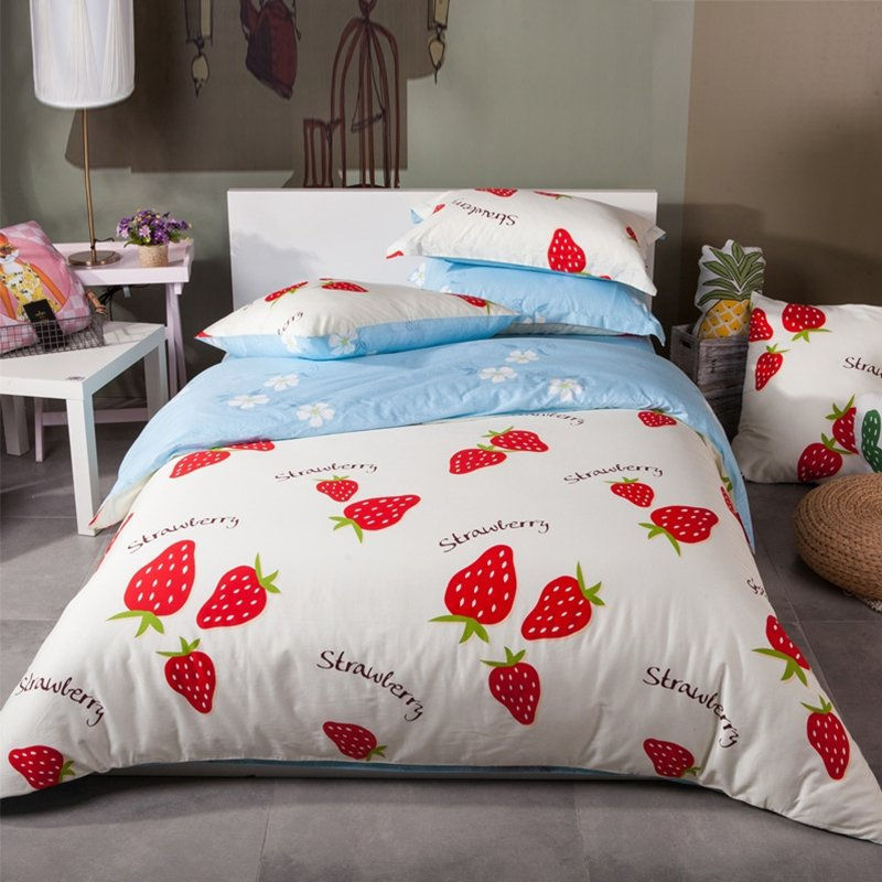 Red White and Light Blue Strawberry Print Rustic Style Personalized Reversible 100% Cotton Full, Queen Size Bedding Sets