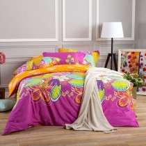 Elegant Girls Magenta Orange Yellow and Aqua Blue Tropical Floral Print Exotic 100% Cotton Full, Queen Size Bedding Sets