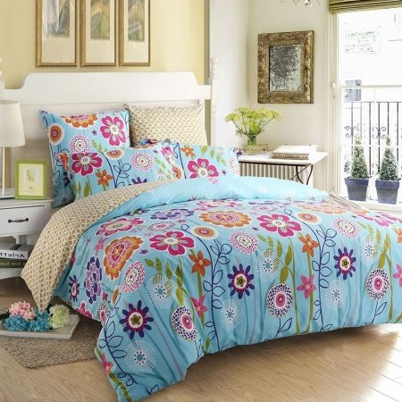 Sky Blue Orange Purple and Lime Natural Flower Print Tropical Rustic Style 100% Organic Cotton Full, Queen Size Bedding Sets