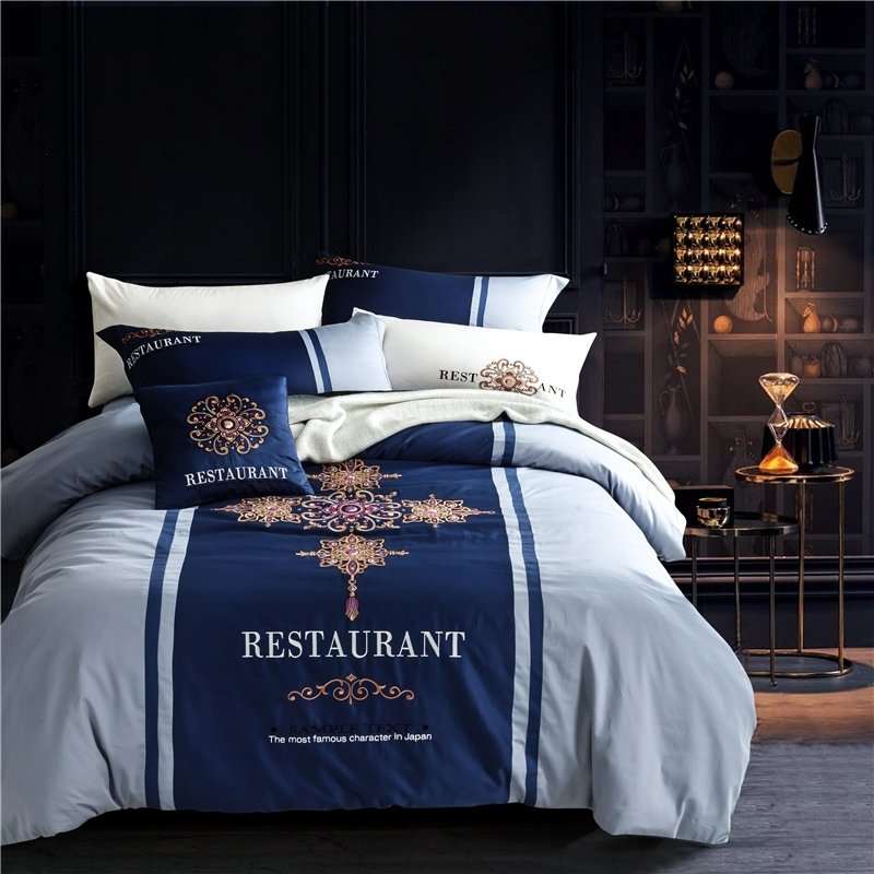 Royal Blue Light Blue and Gold Baroque Style Indian Pattern Noble Excellence Hotel Style  100% Cotton Damask Full, Queen Size Bedding Sets