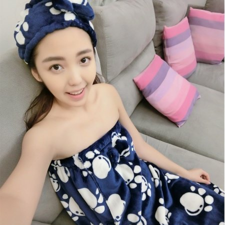 Navy Blue Flannel Bear Print Bowknot Sweet Sexy Free Size Bath Towel Pajamas