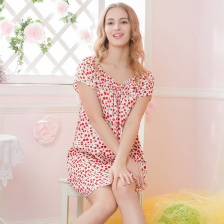 Red Flower Print 19mm Pure Nature Silk Midi Dress Elegant Pajamas for Feminine Girly M L XL