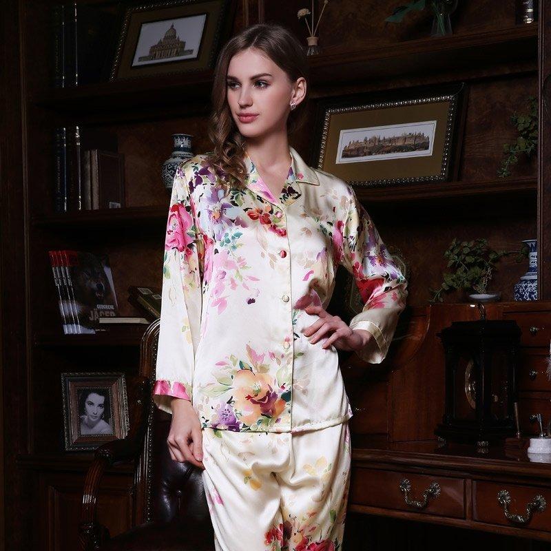 Eggshell 100% Pure Silk Flower Long T-Shirt and Pants Luxury Oriental Pajamas for Feminine Girly M L XL