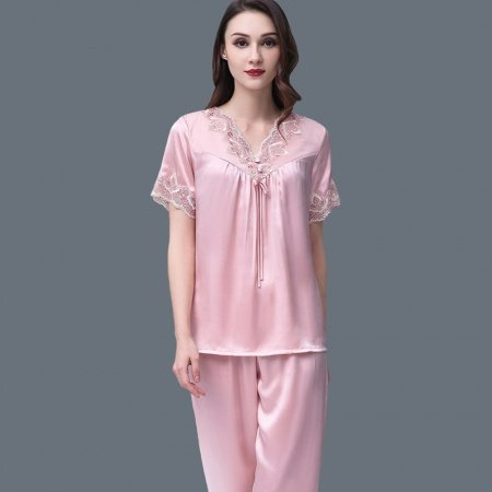 Pastel Pink 100% Mulberry Silk V-neck with Embroidered Jacquard Trim Short Sleeve with Lace Cuffs Pants Luxury Noble Women Pajama M L XL