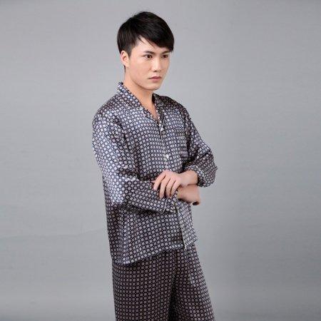 Gingham Plaid 100% Nature Silk Long T-Shirt and Trousers Classic Luxury Pajamas for Men Boys M L XL XXL XXXL