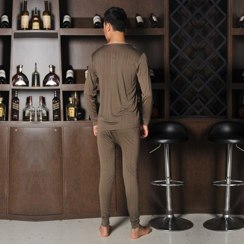Umber 100% Real Silk Knit Long T-Shirt and Pants Luxury Boutique Pajamas for Men Boys M L XL XXL