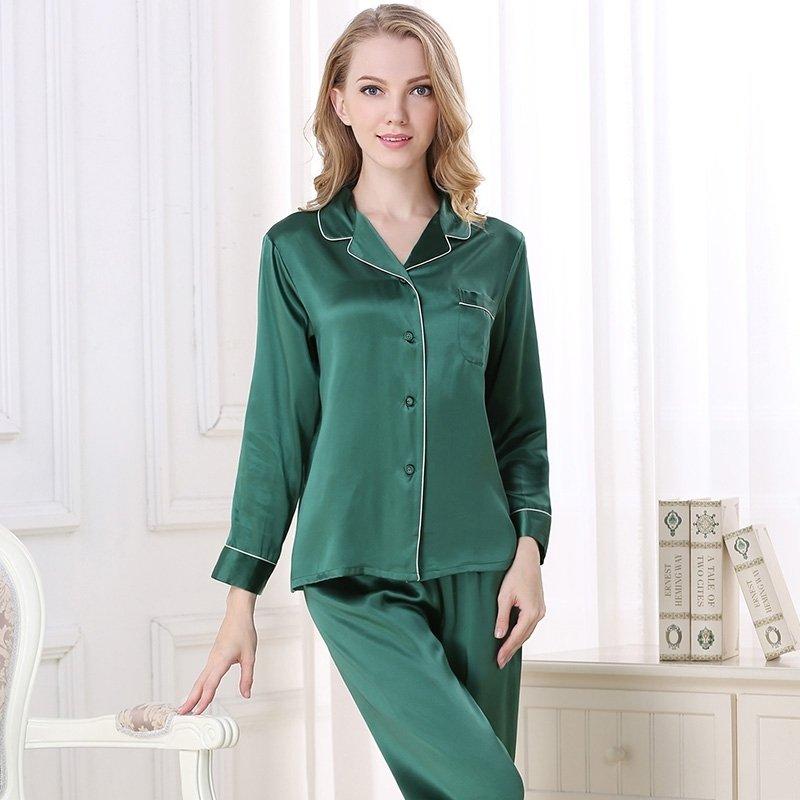 Green 100% Asian Silk 2 Pieces Long Sleeve T-Shirt and Pants Elegant Silky Sprint Autumn Pajamas Set M L XL