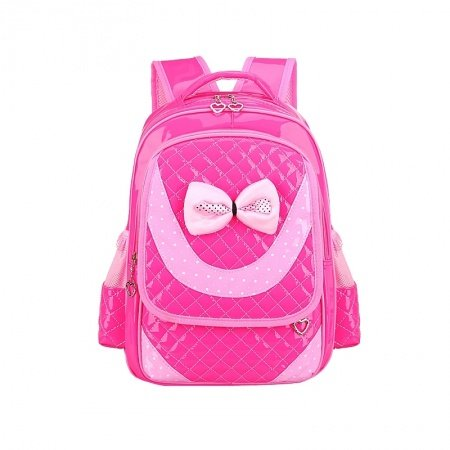 Rose Red Patent Leather with Pink Bow Lace Quilted Girls Flap School Backpack Hipster Polka Dot Sewing Pattern Pupil Campus Book Bag