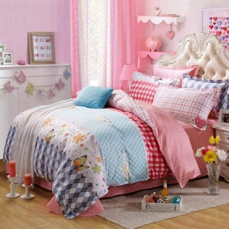 Girls Cherry Red Light Blue Grey and White Elegant Butterfly and Lattice Print Fashion 100% Cotton Twin, Full Size Bedding Sets