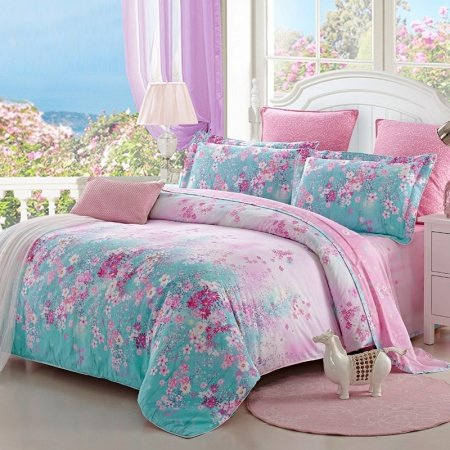 Tiffany Blue and Pink Beautiful Flower Garden Spring Country Chic Natural 100% Cotton Full, Queen Size Bedding Sets