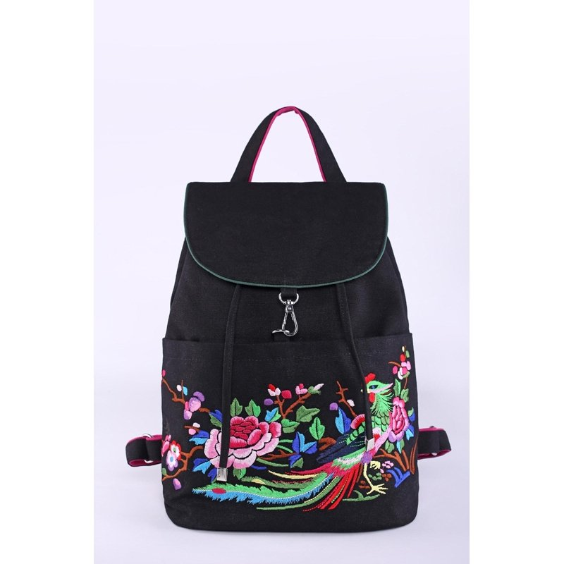 Bohemian Black Canvas Girls Casual Travel Flap Drawstring Backpack Gorgeous Peacock and Floral Embroidered School Campus Book Bag