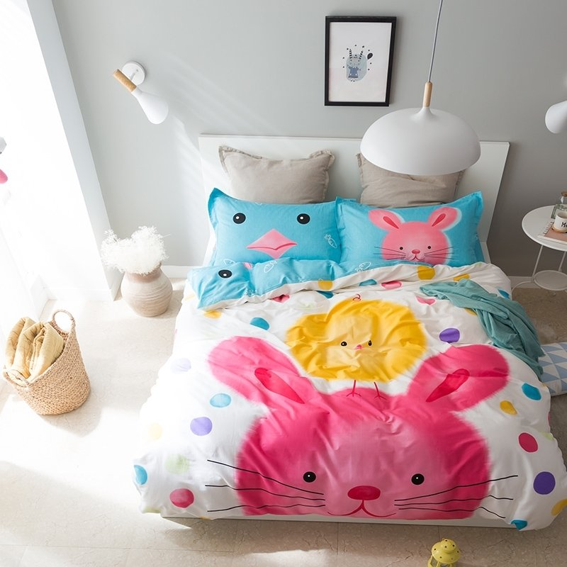 Magenta Yellow Turquoise and White Pretty Bunny and Chick Print Farm Animal Cute Style 100% Cotton Twin, Full Size Bedding Sets