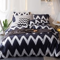 Oxford Blue and White Aztec Stripe Print Masculine Style Shabby Chic Unique 100% Egyptian Cotton Full, Queen Size Bedding Sets