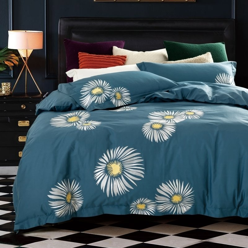 Blue-gray and White Daisy Flowers Pattern Rustic Country Embroidered Design 100% Organic Cotton Full, Queen Size Bedding Sets