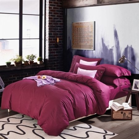 Solid Burgundy Red Pure Colored Simply Chic Elegant Design 100% Organic Cotton Twin, Full, Queen Size Bedding Sets