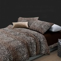 Brown and White Sexy Leopard Print Shabby Chic Retro Style Pure Egyptian Cotton Full, Queen Size Bedding Sets for Adult