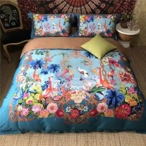 Elegant Girls Bright Colorful Flamingo and Tropical Flower Print Southwestern Style Real Egyptian Cotton Full, Queen Size Bedding Sets