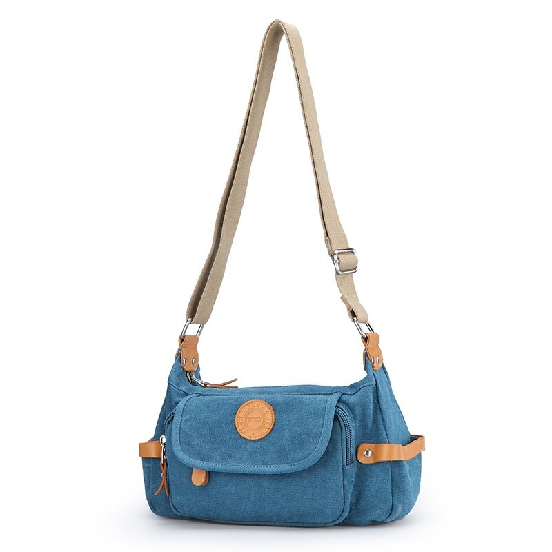 Japanese Style Slate Blue Canvas with Orange Leather Durable Sewing Pattern Feminine Women Small Flap Crossbody Shoulder Satchel Bag