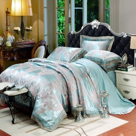 Baby Blue and Grey Abstract Scroll Pattern Retro Lace Design Shabby Chic Glitter Jacquard Fabric Full, Queen Size Bedding Sets