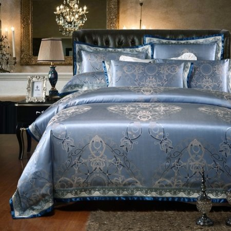 Dusty Blue and Silver Medieval Pattern Classic Inspired Abstract Design Western Style Sparkle Jacquard Satin Full, Queen Size Bedding Sets