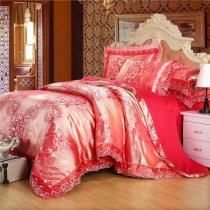 Watermelon Red and Gold Antique Rose Pattern Victorian Lace Design Luxury Jacquard Satin Full, Queen Size Bedding Sets for Girls