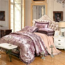 Purple Silver and Tan Victorian Lace Design Vector Flower Sequin Design Luxurious Jacquard Satin Full, Queen Size Bedding Sets