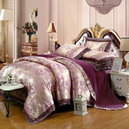 Plum Purple and Silver Flower Pattern Victorian Lace Design Elegant Girls Sequin Fabric Jacquard Satin Full, Queen Size Bedding Sets