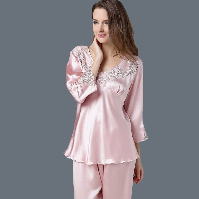 100% Pure Silk Embroidered 3/4 Length Pullover Shirt & Cropped Trousers Sweet Pajamas for Feminine Girly L XL XXL
