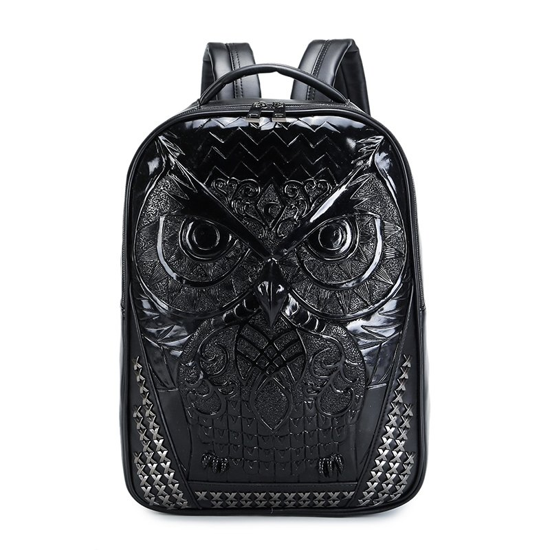 Unusual Black Distressed Leather Embossed Owl Boys School Book Bag Punk Rock and Roll Style Rivet Studded Hiking Travel Laptop Backpack