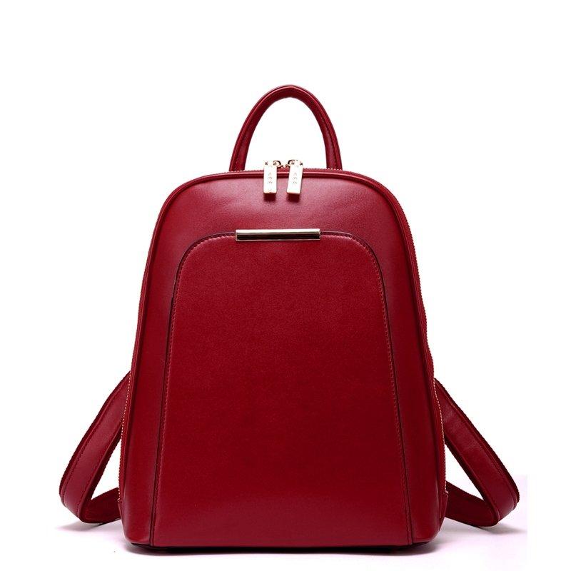 Fine Solid Dark Red Patent Leather Elegant Feminine Lady Travel Backpack Korean Style Sewing Pattern Preppy School Campus Book Bag