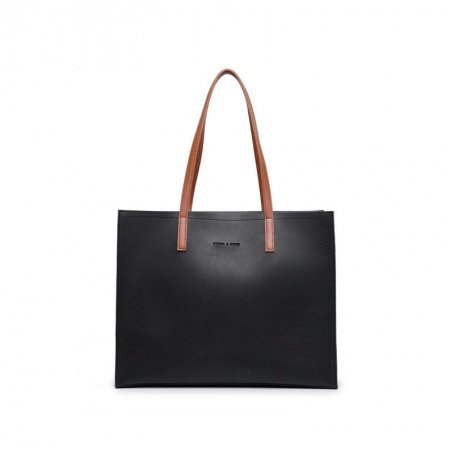 Durable Solid Black Patent Leather with Orange Handle Elegant Women Large Tote Korean Style Trend Sewing Pattern Casual Shoulder Bag