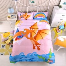 Ocean Blue Orange Pink and Green Cartoon Dinosaur Jurassic Animal Personalized 100% Cotton Twin, Full Size Bedding Sets for Teenage