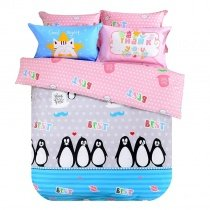 Kids Aqua Pink Black and White Fun Penguin Print Cartoon Themed Modern Chic Reversible 100% Cotton Twin, Full Size Bedding Sets