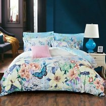 Pink Blue Green and White Butterfly and Vintage Floral Print Rustic Chic Tropical Style Full, Queen Size Bedding Sets