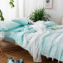 Girls Tiffany Blue and White Tassel Design Trendy Noble Excellence 100% Organic Cotton Full, Queen Size Bedding Sets