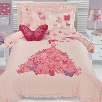Beautiful Light Pink and Rose Red Fairy and Princess 100% Cotton Twin, Full Size Bedding Sets for Girls