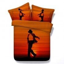 Hipster Sunset Orange and Black Dancer Pattern Modern Chic Personalized Twin, Full, Queen, King Size Bedding Sets