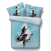 Stylish Aqua Black and White Guitar Print Music Note Rock and Roll Hippie Style Twin, Full, Queen, King Size Bedding Sets