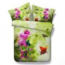 Lime Green Pink and Black Beautiful Floral and Butterfly Print Spring Country Chic Nature Twin, Full, Queen, King Size Bedding Sets