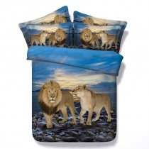 Brown Grey and Blue Lion Print Jungle Animal Themed Shabby Chic 3D Design Twin, Full, Queen, King Size Bedding Sets