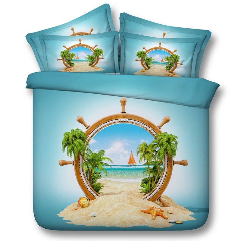Blue Tan and Orange Palm Tree Seashell Starfish Seaboat Compass Print Tropical Hawaiian Island Twin, Full, Queen, King Size Bedding Sets