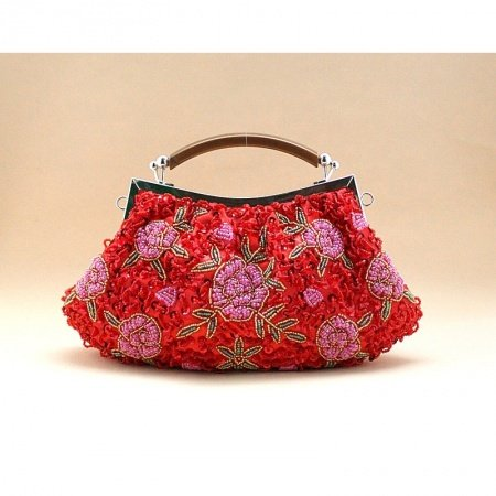 Red Pink Embroidered Rose Flower Beaded Women Small Evening Party Tote Vintage Kiss LockSequin Chain Crossbody Shoulder Handle Bag