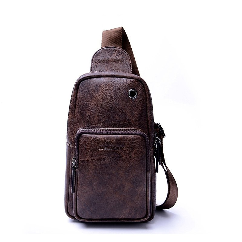 Vintage Brown Distressed Waxed Leather Men Crossbody Shoulder Chest Bag Unique Sewing Pattern Travel Hiking Cycling Sling Backpack