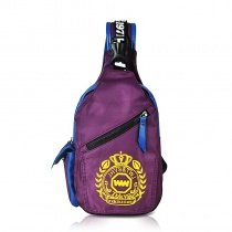Dark Purple Oxford with Blue Trim Women Crossbody Shoulder Chest Bag Yellow Crown Monogrammed Print Travel Hiking Cycling Sling Backpack
