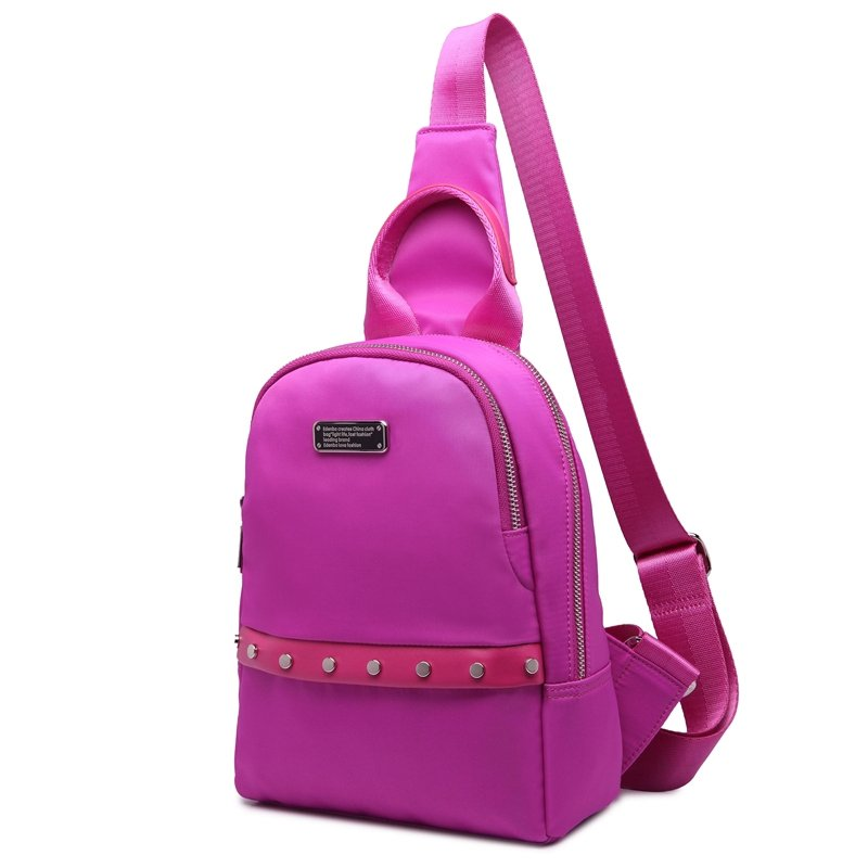 Hot Pink Nylon Rivet Studded Elegant Girls Crossbody Shoulder Chest Bag Durable Sewing Pattern Sequin Casual Travel Sling Backpack