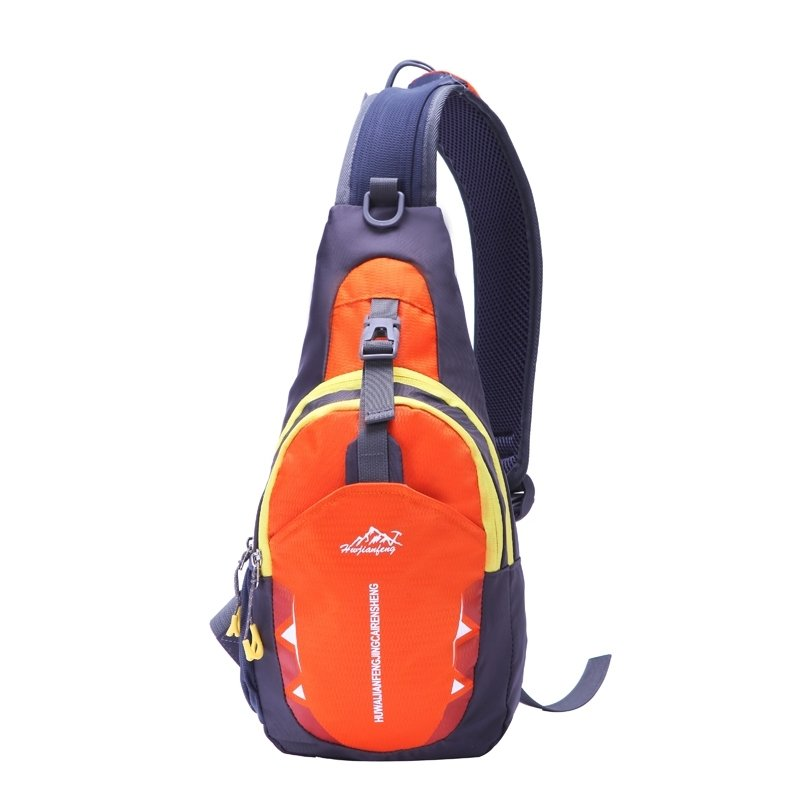 Flame Orange Black Polyester with Yellow Trim Crossbody Shoulder Chest Bag Hipster Monogrammed Anti Theft Travel Hiking Sling Backpack