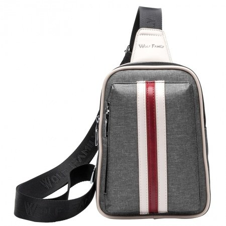 Stylish Taupe Gray Nylon Masculine Boys Crossbody Shoulder Chest Bag Personalized Vertical Stripe Casual Travel Hiking Sling Backpack