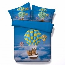 Hipster Sky Blue Yellow Brown and White Hot Air Balloon and Dog Print Funky Holiday Themed Twin, Full, Queen, King Size Bedding Sets