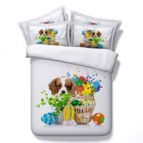 Teal Green Yellow and White Dog and Easter Eggs Print Colorful Paint Splatter Twin, Full, Queen, King Size Bedding Sets for Teens