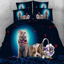 Black Brown and Blue Kitty Cat and Dog Print Hipster Style Farm Animal Themed Twin, Full, Queen, King Size Bedding Sets for Kids